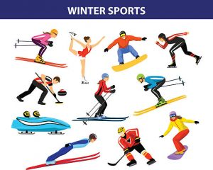 Winter Ice Snow Sports Set includin cross country, freestyle skiiing, sowboarding, speed skating, sliding, bobsled, ski jumping, curling and figure skating. Male and female sportsman